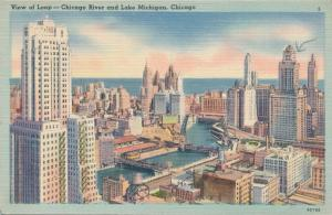 Chicago River and Lake Michigan at The Loop - Chicago IL, Illinois - Linen