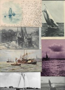Nautica  - Ships Sailboat with RPPC Postcard Lot of 18 01.08