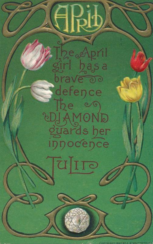 Birth Month April - Birthstone Diamond - Flower Tulip - DB