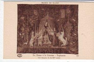 P1322 old art postcard unused unicorn horse other animals 2 women- tapisserie