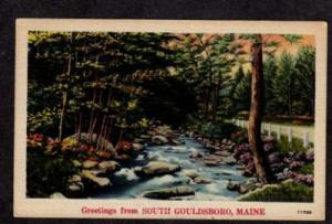 ME Greetings From SOUTH GOULDSBORO MAINE Postcard Linen