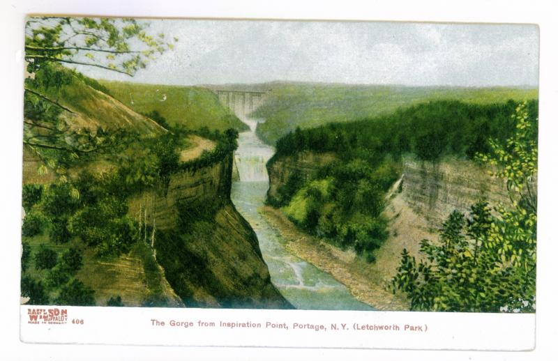 Portageville to North Clymer New York 1913 used PC The Gorge, Inspiration Point