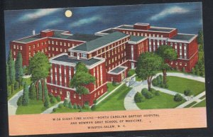 North Carolina colour PC Night Scene  Baptist Hospital Winston-Salem unused
