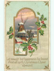 Pre-Linen christmas WINDMILL IN WINTER SCENE WITH HOLLY k1290