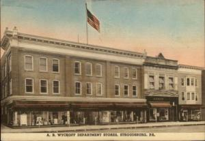 Stroudsburg PA AB Wyckoff Dept Stores Hand Colored Postcard jrf