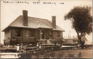 East Chicago Indiana~Carnegie Public Library~Grand Ave~Girls~1910 Huckins~RPPC