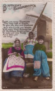 Happy Birthday English Children In Dutch Costume Windmill Old Greetings Postcard