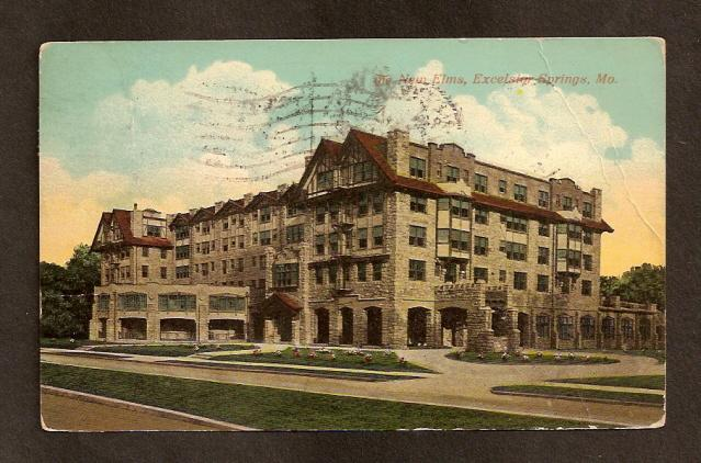 Postcard- Elms Hotel, Excelsior Springs, MO-1912-Flag Cancel
