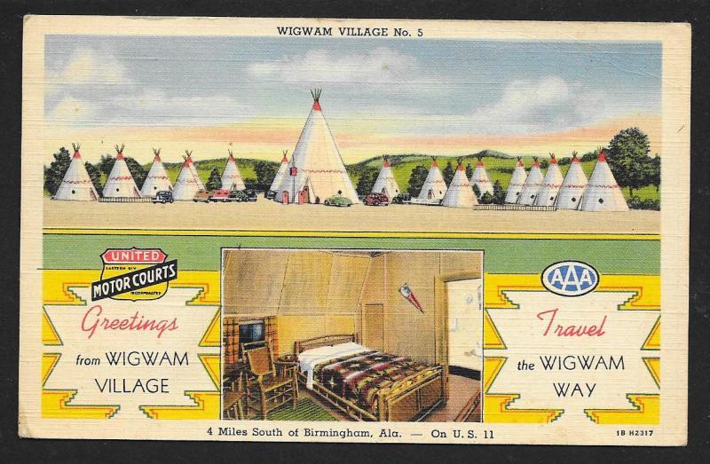 Wigwam Village Birmingham AL Unused c1941