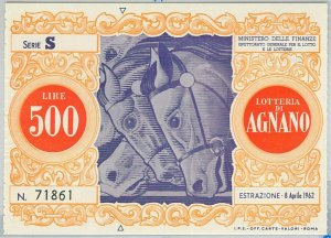 66122 - Vecchio  BIGLIETTO  LOTTERIA: Lotteria di AGNANO 1962 - IPPICA