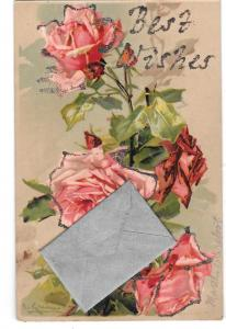 Best Wishes Envelope Add-On Roses Glitter Novelty Postcard