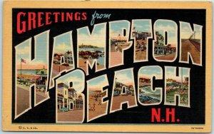 HAMPTON BEACH NH Large Letter Postcard Beach Scenes Curteich Linen 7A-H2694
