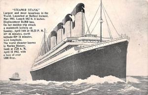 Steamer Titanic Ship A loss of over 1300 Lives Unused minimal corner wear, li...
