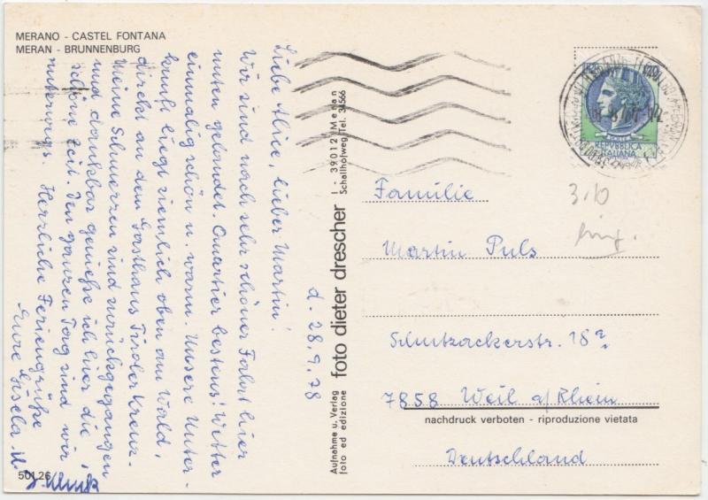 MERAN, Castel Fontana, MERAN, Brunnenburg, Italy, 1978 used Postcard