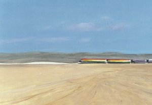 Donald Hamilton Fraser Train In The Desert Painting Postcard