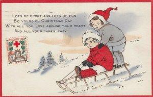 CHRISTMAS , Kids on a sled , 1918