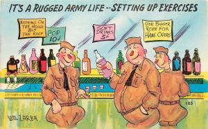 MILITARY ARMY COMIC POSTCARD WM ZARBA RUGGED ARMY LIFE SETTING UP EXERCISES