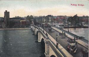 LONDON, England, 1900-1910's; Putney Bridge, Classic Cars, Double Decker Bus