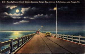 Florida Moonlight Over Gandy Bridge Spanning Tampa Bay 1947 Curteich