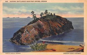 Historic Battlerock Near Port Orford, Oregon, Early Linen Postcard, Used