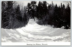 Wabena Wisconsin~Shadows on the Snow~Plowed Out Road~Evergreens~1950s RPPC