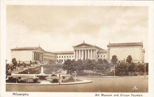 Art Museum and Ericson Fountain Philadelphia Pennsylvania Real Photo