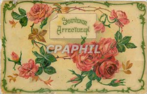 Postcard Old affectionate Remembrance Flowers