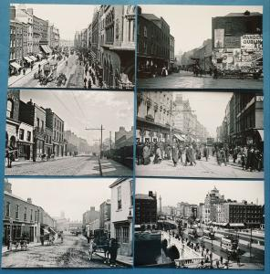 Set of 6 New Black & White Glossy Postcards OLD DUBLIN Ireland Eire Repro 21P