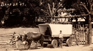 c1910 RPPC Welcome Old Settlers Days Of '49 Ox Drawn Covered Wagon Clinton Iowa