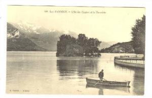 L'Ile Des Cygnes et la Tournette, Man On A Boat, Lac d'Annecy, (Haute-Savoie)...