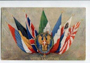 3076653 WWI ITALY PROPAGANDA allies FLAGs Vintage PC