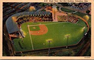 Ohio Columbus Red Bird Stadium Night View Baseball Game 1954 Curteich