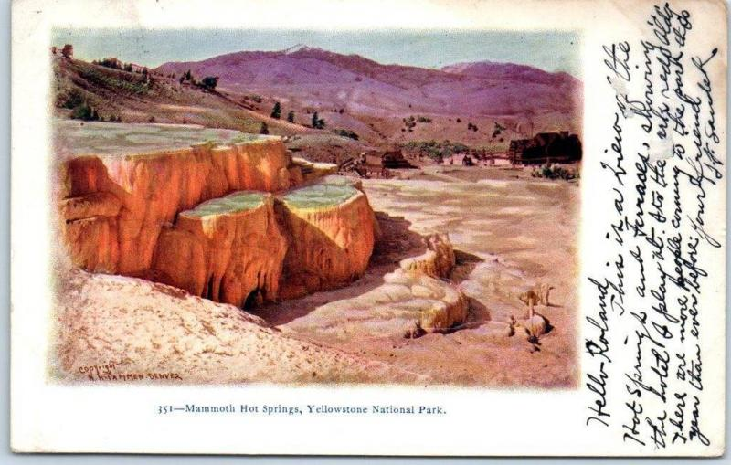Yellowstone National Park Embossed Postcard Mammoth Hot Springs 1905 Cancel