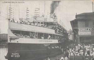 SOUTH HAVEN, Michigan, 1912; Steamship City of South Haven Leaving South Haven