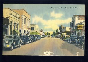 Lake Worth, Florida/FL Postcard,  Lake Avenue Looking East, 1943!