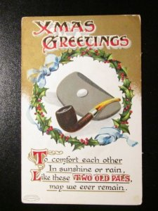 Xmas Greetings-pipe ands tobacco-holly