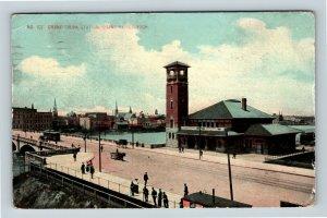 Grand Rapids MI, Grand Trunk Station, Michigan, Vintage Postcard Z61