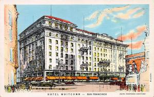 Hotel Whitcomb, San Francisco, California,  Early Postcard, Unused