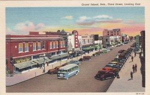 Nebraska Grand Island Third Street Looking East Curteich sk5896