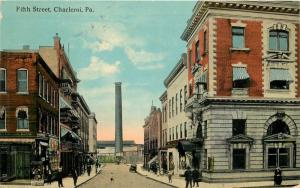 Postmark On Charleroi PA Divided Back Postcard. Fifth Street