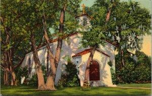 Catholic Chapel on Frederica Road, St. Simons Island GA - Linen Postcard