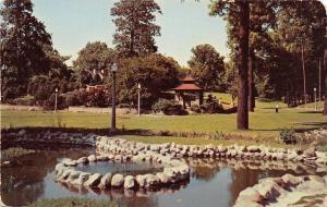 Anderson Indiana~Shady Side Park~Pond~Gazebo~1950s Postcard
