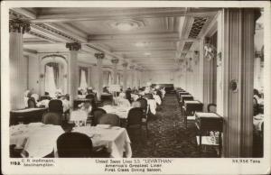 UnIted States Line Steamship SS Leviathan Interior c1910 Real Photo Postcard #3