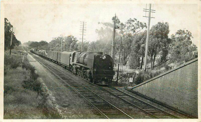 1930s Railroad Seymour Victoria Australia Fast Freight Engine RPPC  Postcard