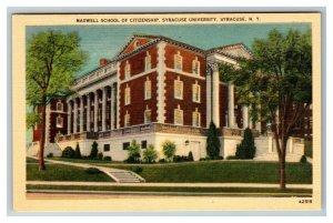 Maxwell School of Citizenship Syracuse University Syracuse NY Linen Postcard I20