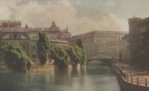 Stockholm Riksbanken Helgeandsholmen Swedish Painting Postcard