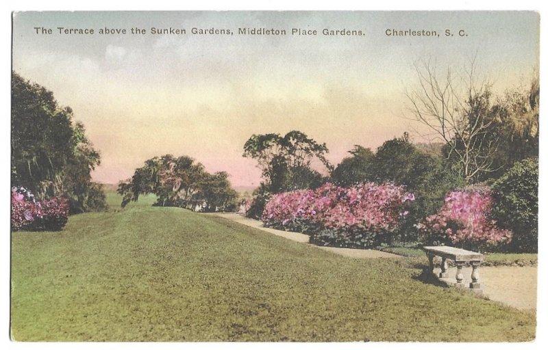 Middleton Place Gardens, Charleston, South Carolina, Hand Colored Albertype