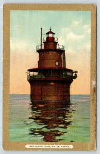 Boston Harbor MA~Deer Island Light House~Replaced 1982~c1910 Gold Border PC