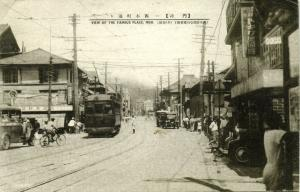 japan, MOJI, Street Scene, Streetcar Tram Car (1934) Stamp
