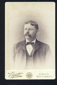 BRATTLEBORO VERMONT REAL PHOTO VINTAGE CABINET CARD 1890's MAN MOUSTACHE